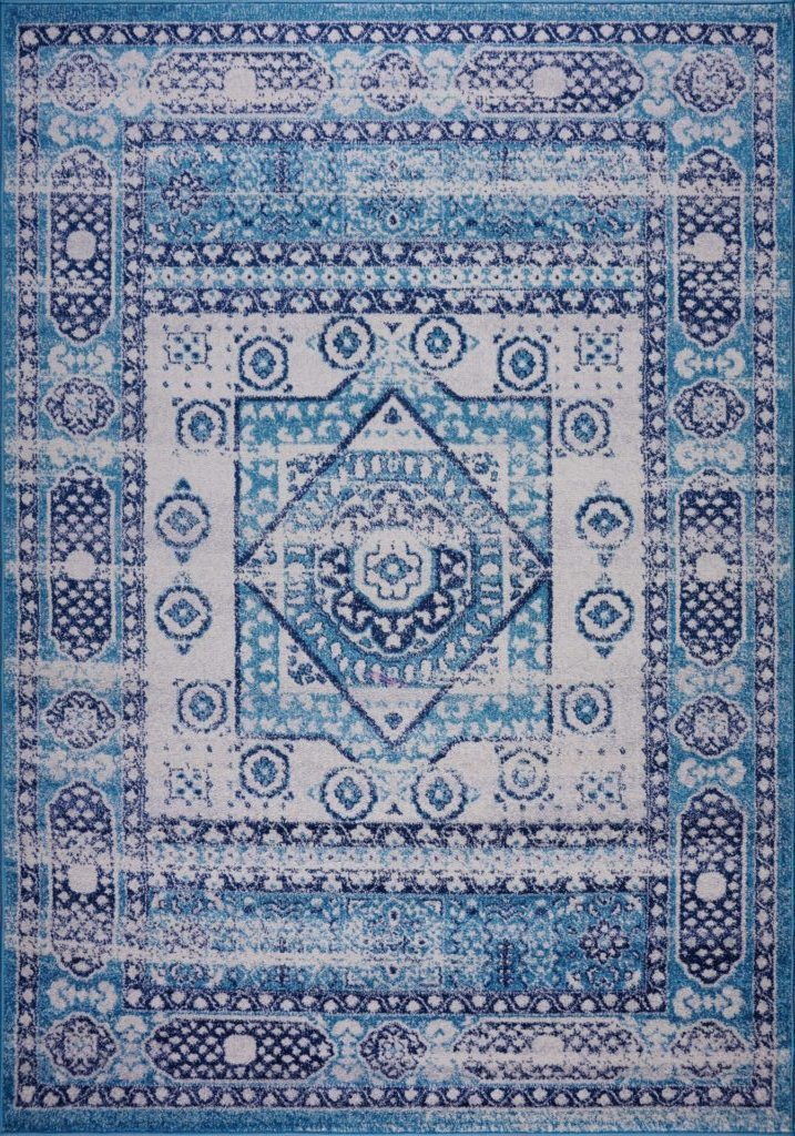 Zosia Traditional Style Diamond Design Polypropylene Turkish Mat Carpet in Blue
