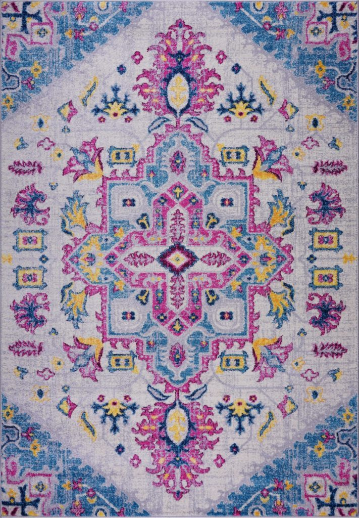 Shareen Traditional Design Soft Sustainable Mat Carpet in Blue Multicolor