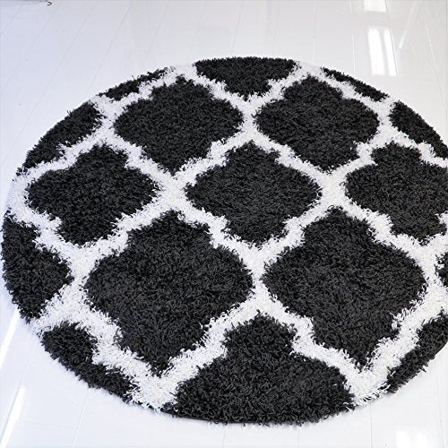 Ladole Rugs Black White Shaggy Area Rug Carpet Mat 5 Feet Round Circular Circle for Living Room Bedroom Patio Decoration