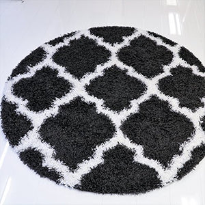 Rugs Black White Shaggy Area Rug Carpet Mat 5 Feet Round Circular Circle for Living Room Bedroom Patio Decoration
