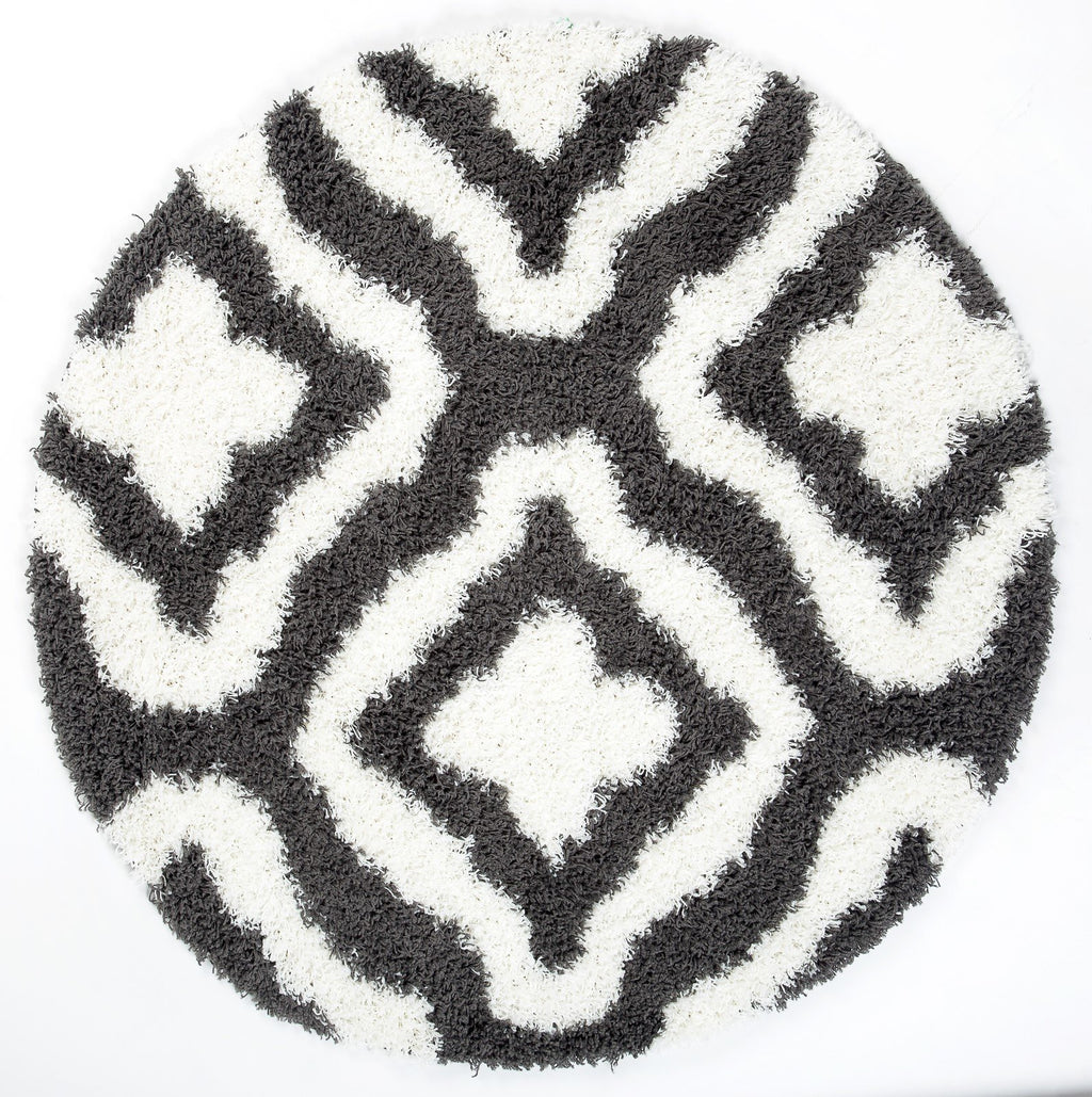 Ladole Rugs Stylish Shaggy Comfortable Elegant Carpet Area Rug in Dark Grey-White, 5x8