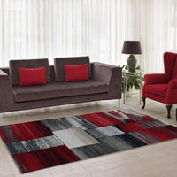 Copper Currant Red Grey Living Room Area Rug Contemporary Modern Geometric Design Hallway Dining Rug