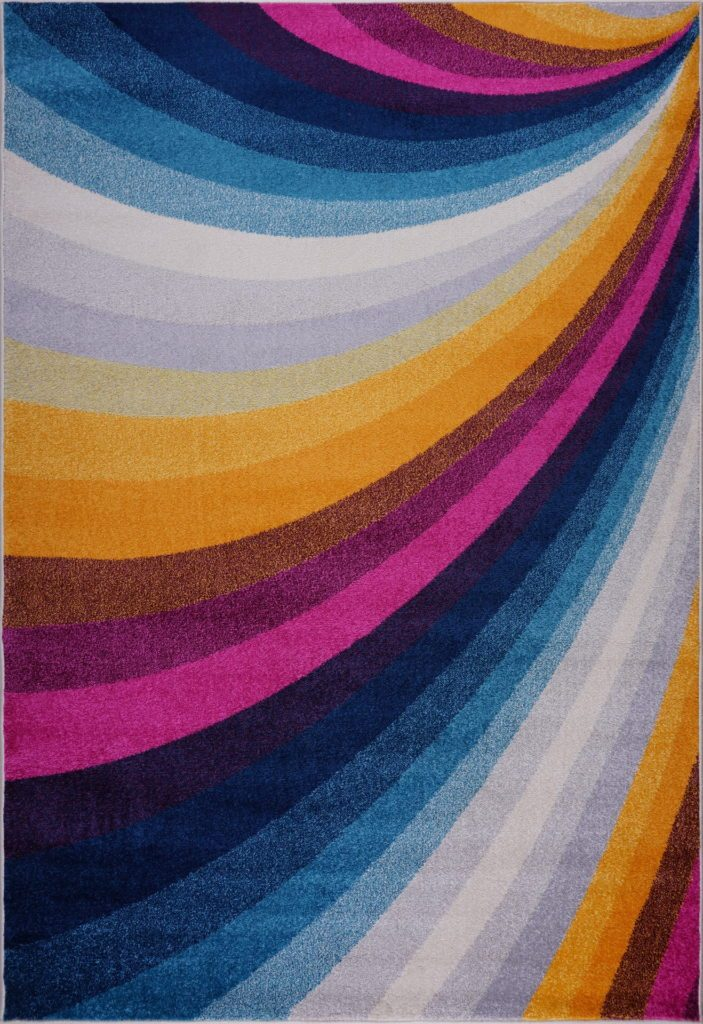 "Ladole Rugs Ladole Rugs Opal Abstract Style Rainbow Contemporary Modern Indoor Mat Carpet in Multicolor, 2x3 (1'10"" x 2'11"", 57cm x 90cm), 2x3 (1'10"" x 2'11"", 57cm x 90cm), Multicolor"
