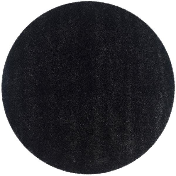 Ladole Rugs 5 Feet Diameter Round Shaggy Modern Area Rug Carpet in Solid Black