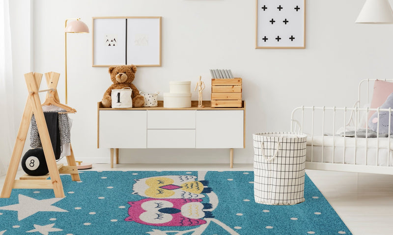 Owl Pink White Star Kids Area Rug