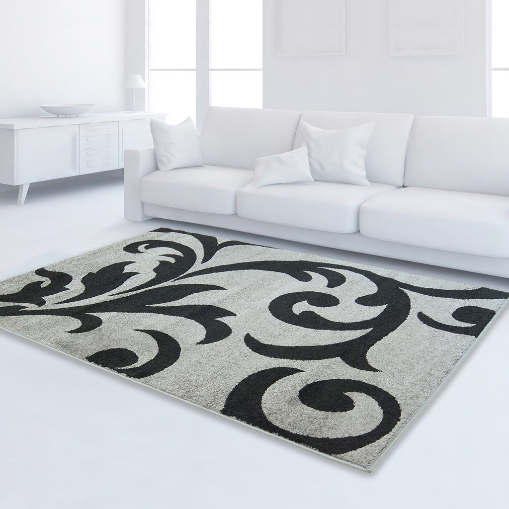 Grey Black Flower Area Rug -