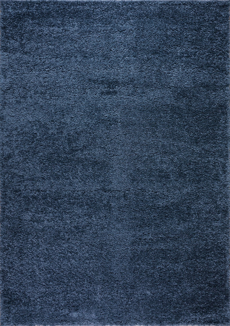 Solid Color Shaggy Meknes Durable Beautiful Turkish Rug in Blue