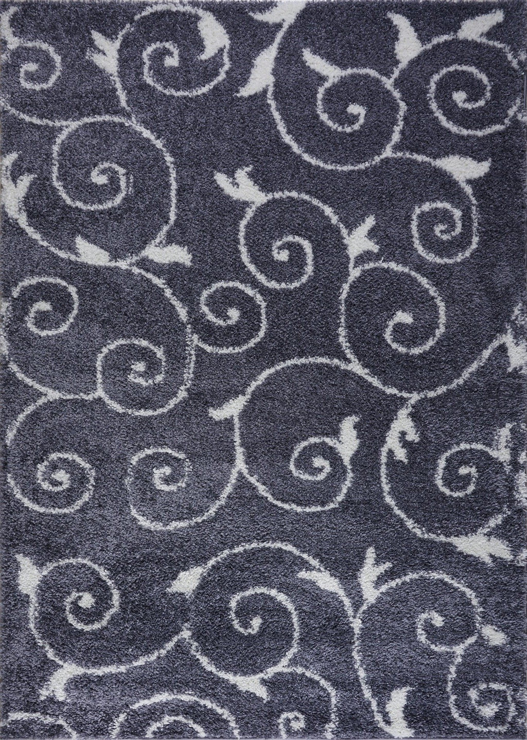 Shaggy Rabat Abstract Pattern Sustainable Spirals Style Indoor Area Rug Carpet, Dark Gray/White