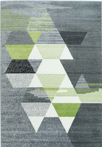 Grey Green Triangles Area Rug -