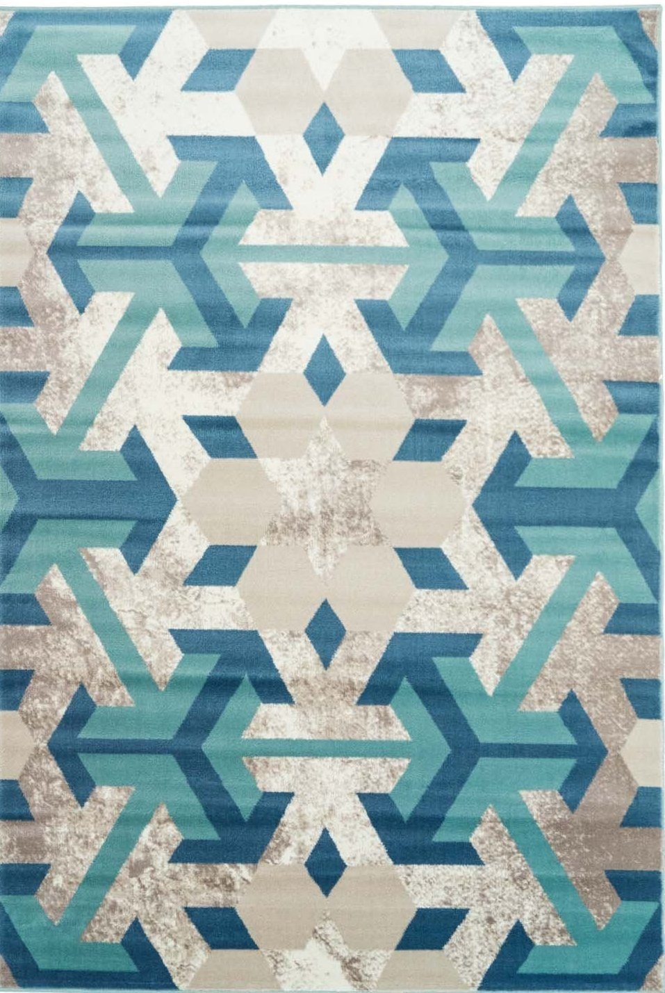 Irish Teal Turquoise Snowflake Area Rug -