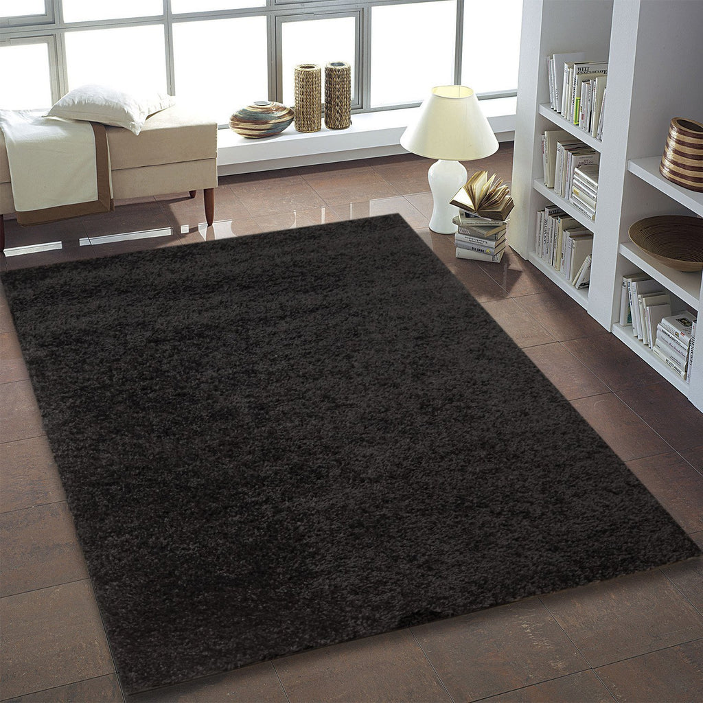 Shaggy Black Area rug -