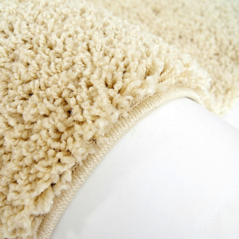 Shaggy Cream Solid Area Rug -