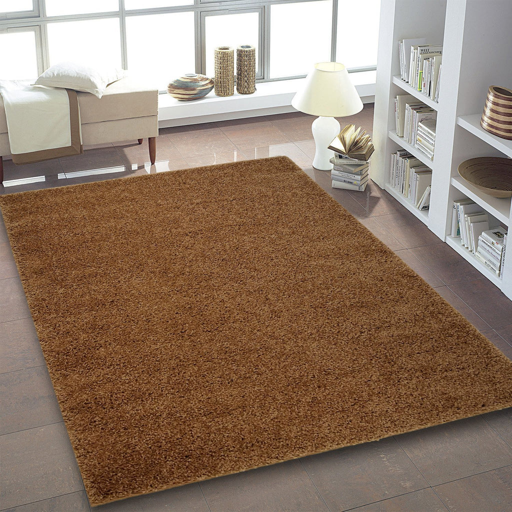 Shaggy Light Mocha Brown Area Rug -