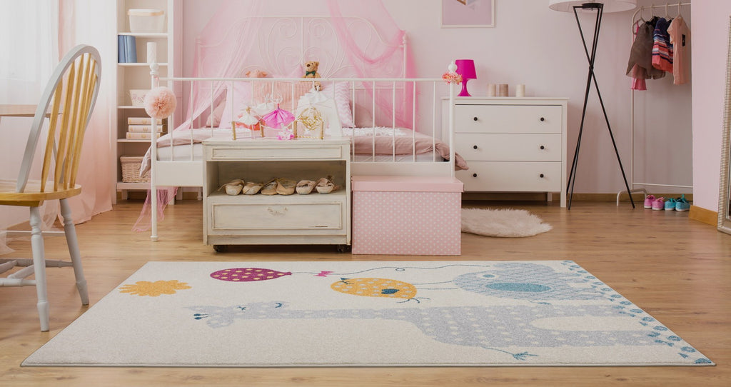 Giraffe Elephant Bird Kids Area Rug