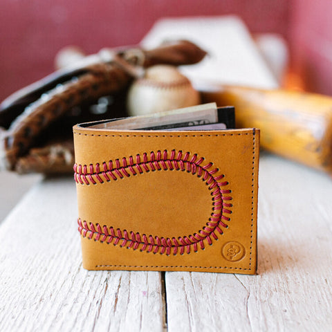 Genuine Baseball Wallet Made Real Baseball Glove Leather with 108 Baseball Red Baseball Stitches