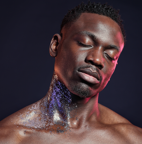 Purple and Silver Glitter Glitterazzi Biodegradable Glitter on stunning male model