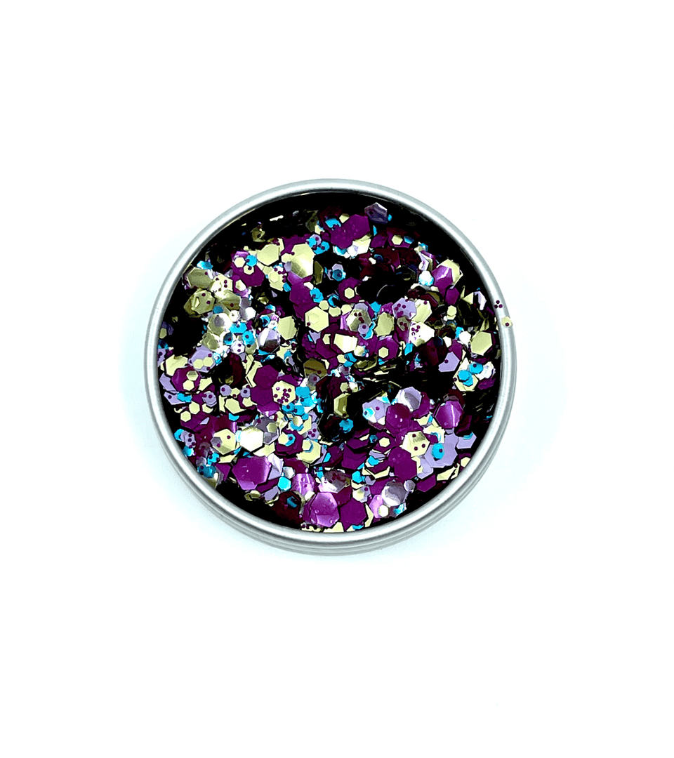 circus safari, the extraordinary ecoglitter mix of purple, gold, and blue.