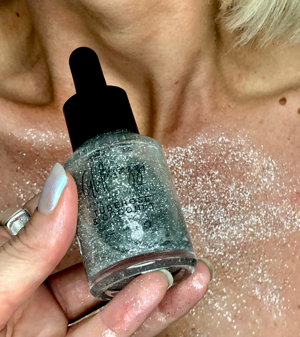 Liquid Shimmer - Silver | Coconut Oil & Tuberose - Glitterazzi Biodegradable Eco-Friendly Glitter
