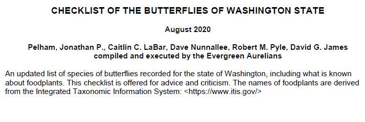 Checklist of the Butterflies of Washington State