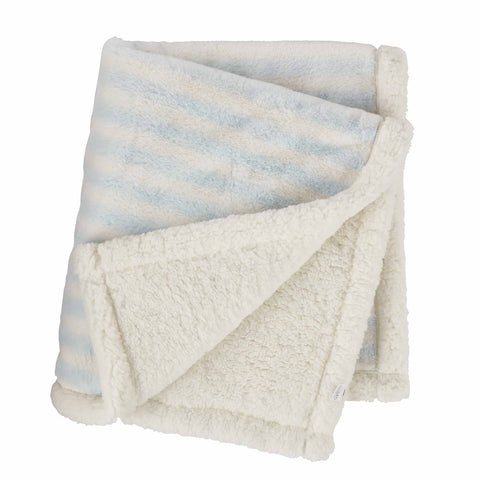 Mud-Pie Blue Striped Faux Fur Blanket