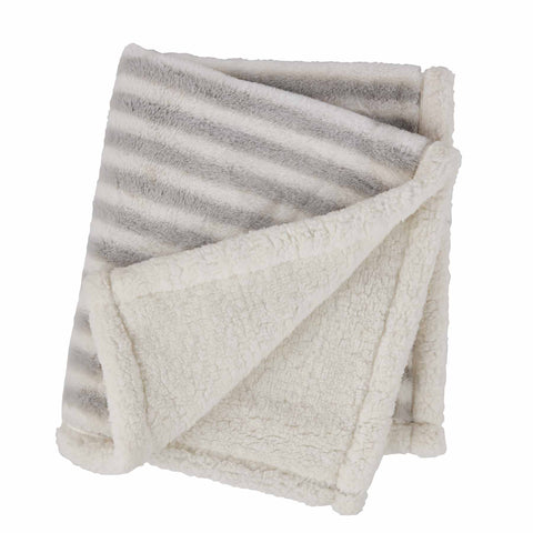 Mud-Pie Grey Striped Faux Fur Blanket