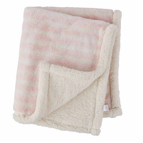 Mud-Pie Pink Striped Faux Fur Blanket