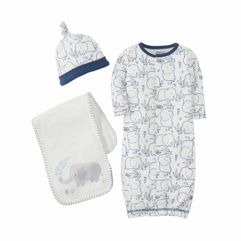 Mud-Pie Blue Elephant Gown Hat Burp