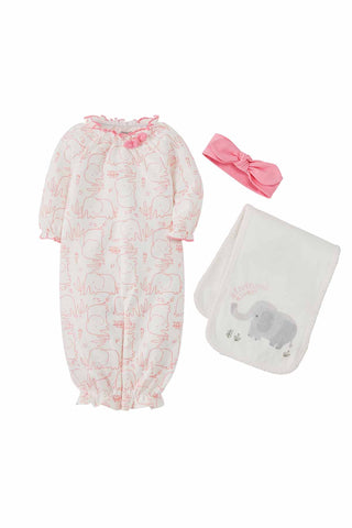 Mud-Pie Pink Elephant Gown Burp Headband