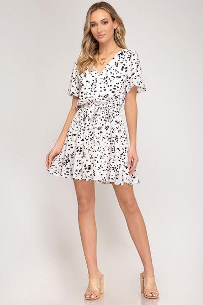 Black 2 White Print Dress