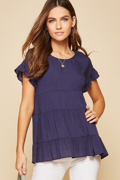 Navy Abby Babydoll Top
