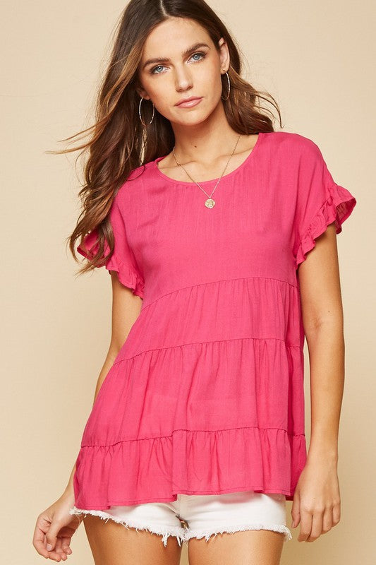 Hot Pink Abby Babydoll Top