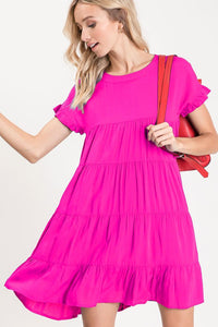 Fuchsia Cassie Babydoll Dress