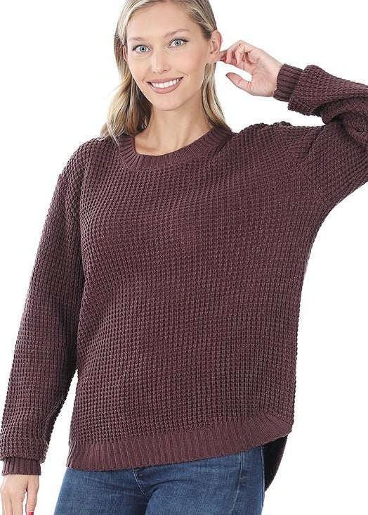 Stacey Round Waffle Sweater