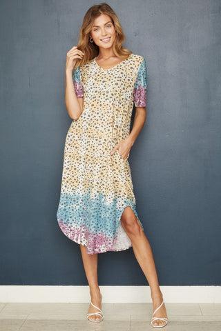 Lacey Multi Dye Animal Print Dress