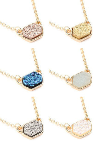 Druzy Hexagon Necklace