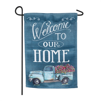 Floral Truck Welcome Garden Suede Flag