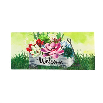 Galvanized Wagon with Succulents Sassafras Switch Mat