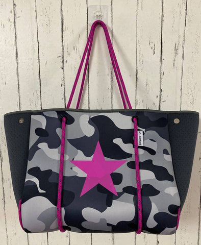 Grey Neoprene Tote With Pink Star