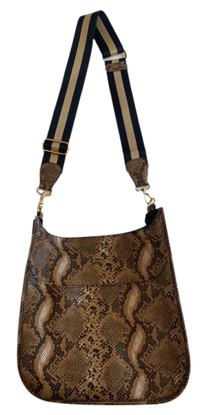 Camel Faux Python Messenger with Stripe Strap