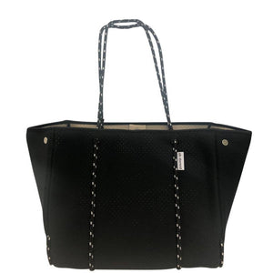 Perforated Solid Black Neoprene Tote with Camel Interior