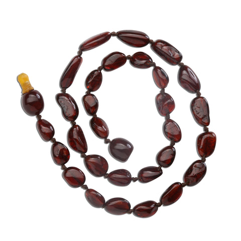 Amber Teething Necklace - Dark Cherry Polished