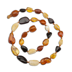 Amber Teething Necklace - Multi Polished