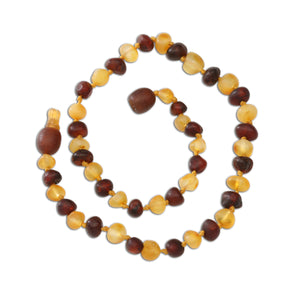 Amber Teething Necklace - Dk. Cherry/Lemon Raw Baroque