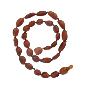 Amber Teething Necklace - Dark Cognac Unpolished Raw