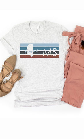Sweet Home Mississippi Graphic Tee - Ash Grey