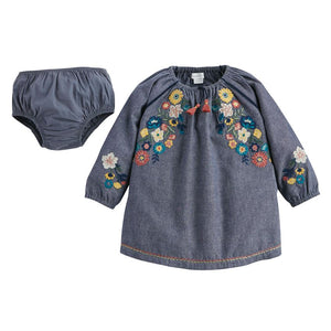 Mud-Pie Chambray Floral Embroidered Dress & Bloomer Set
