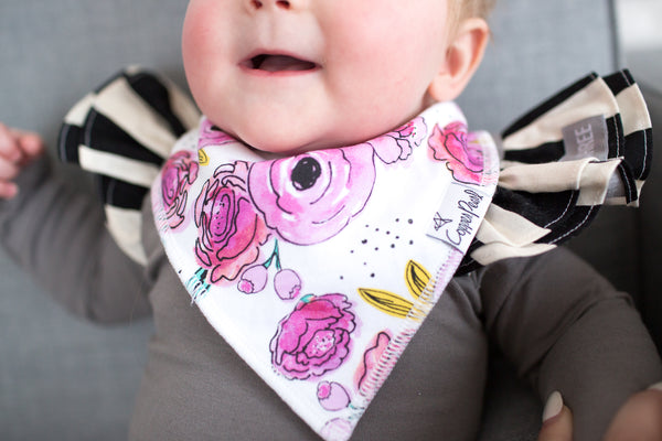 Copper Pearl Bloom Bandana Bib Set