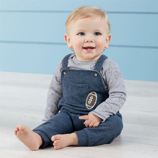 Mud-Pie Football French Terry Overall & Shirt Set