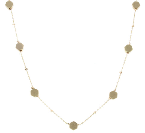Jane Marie Zoe Gold Hexagon Necklace