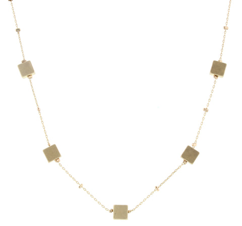 Jane Marie Zoe Gold Square Necklace